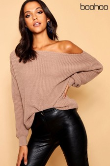 Boohoo Nude Slash Neck Fisherman Jumper