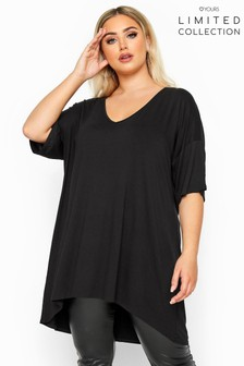 Yours Limited Collection Curve Dipped Hem Drop Shoulder T-Shirt