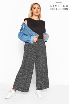 Yours Limited Black Collection Curve Ditsy Wide Leg Trousers