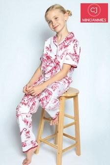 Cyberjammies Red Kristen White Tiger Short Sleeve Pj Set