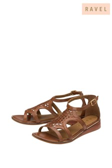Ravel Brown Woven Leather Buckle Fastening Wedge Sandal