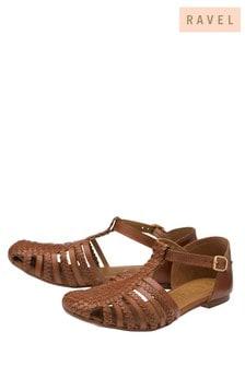 Ravel Brown Woven Leather T Bar Fastening Sandal