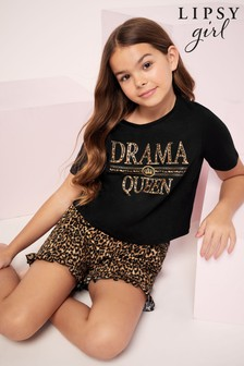 Lipsy Black Drama Queen Printed Short PJ Set