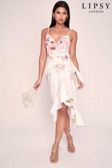 Lipsy White Printed Linen Wrap Midi Dress