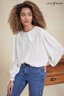 Love & Roses Ivory Collared Blouse