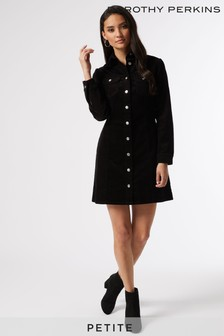 Dorothy Perkins Black Petites Structured Cord Shirt Dress