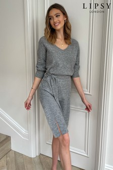 Lipsy Grey Cosy V Neck Ribbed Belted Midi Knitted Dress