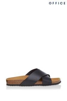 Office Black Cross Strap Footbed Sandals