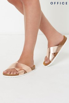 Office Rose Gold Cross Strap Footbed Sandals