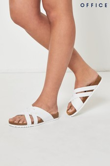 Office White Cross Strap Footbed Sandals