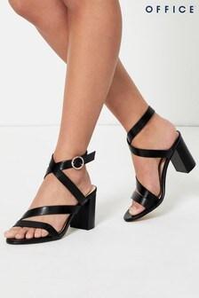 Office Black Strappy Block Heel Sandal