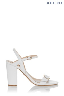 Office White Two-Part Branded Block Heel
