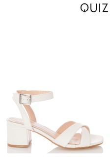 Quiz White Faux Leather Cross Strap Square Toe Low Heel Sandals