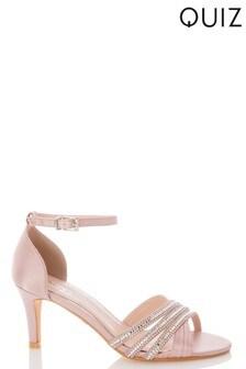 Quiz Pink Shimmer Triple Diamanté X Vamp Low Heel Sandal