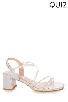 Quiz Silver Clear Diamante Strap Low Block Heel Sandals
