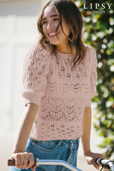 Lipsy Rose Regular Cotton Pointelle Puff Sleeve Knitted Jumper