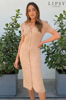 Lipsy Camel Ruched Sleeve Button Through Knitted Dress
