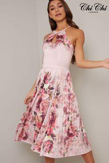 Chi Chi London Pleated Printed Midi Dress