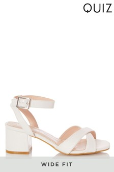 Quiz White Wide Fit Leather X Strap Square Toe Low Heel Sandal