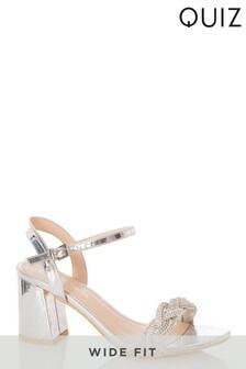 Quiz Silver Wide Fit Mirror Shimmer Mix Twist Diamanté Vamp Block Heel Sandal