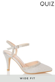 Quiz Silver Wide Fit Shimmer Diamante Open Back Court