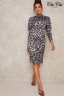 Chi Chi London Blue Coralie Animal Print Dress