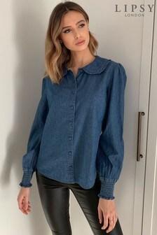 Lipsy Blue Lightweight Denim Frill Collar Shirt