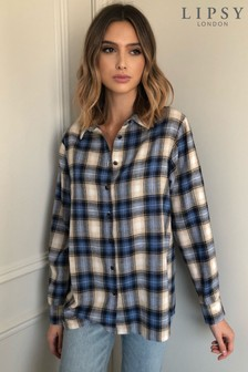 Lipsy Blue Check Oversized Shirt