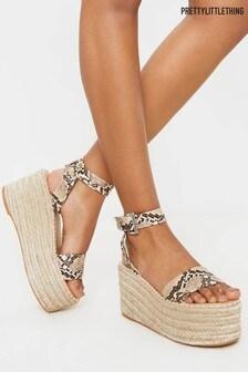 PrettyLittleThing Buckle Ankle Strap Flatform Espadrille Sandals