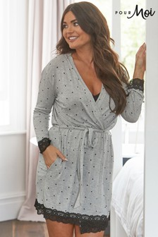 Pour Moi Sofa Loves Lace Jersey Lace Trim Robe
