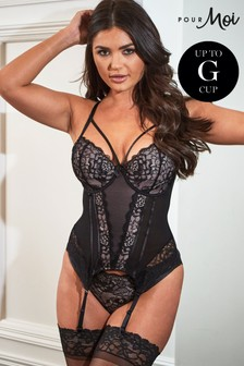 Pour Moi Black Confession Lightly Padded Underwired Basque E+