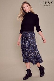 Lipsy Blue Ditsy Lipsy Pleated Midi Skirt