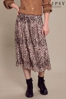 Lipsy Brown Animal Lipsy Pleated Midi Skirt