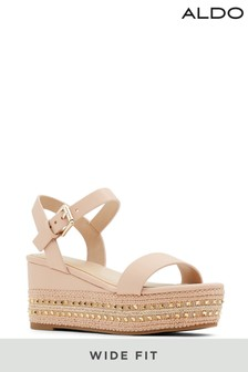 Aldo Pink Wide Fit Embellished Ankle Strap Faltforms