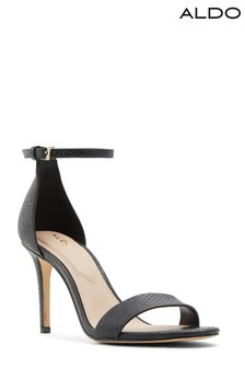 Aldo Black Stiletto Heel Leather Two Part Sandal