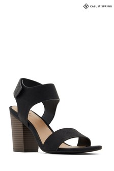 Call It Spring Two Part Sandal with Wodden Stacked Heel