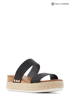 Call It Spring Black Flat Sandal with Woven Sole