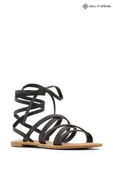 Call It Spring Flat Strappy Sandal with Tie Up Fastening