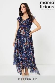 Mamalicious Maternity Cap Sleeve Floral Occasion Dress