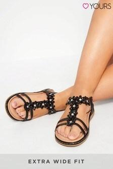Yours Extra Wide Fit Flower Diamanté T-Bar Sandals