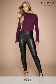 Lipsy Black Tall Seam Detail Leather Look Leggings