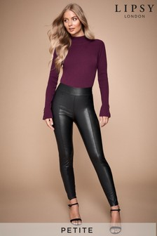Lipsy Petite Seam Detail Leather Look Legging