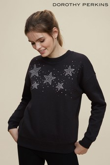 Dorothy Perkins Black Diamante Star Sweatshirt