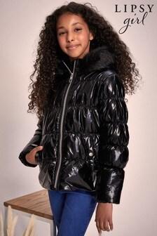 Lipsy Black Hi Shine Shower Resistant Short Padded Coat