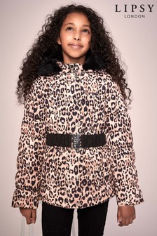 Lipsy Girl Brown Leopard Belted Coat