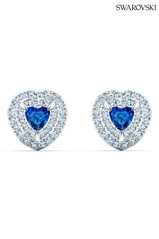 Swarovski Blue Rhodium Heart Stud Earrings