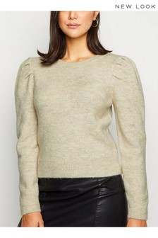 New Look Monochrome Brushed Puff Sleeve Jumper
