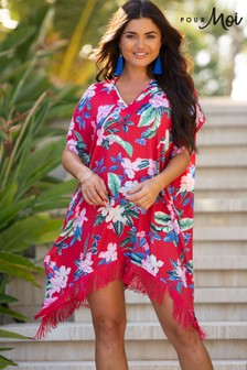 Pour Moi Red Floral Miami Brights Tassel Cover Up