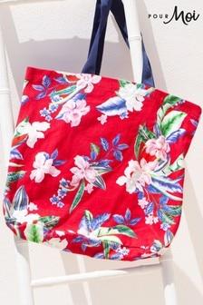 Pour Moi Red Floral Canvas Beach Bag