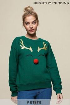 Dorothy Perkins Green Petite Rudolph Sweat